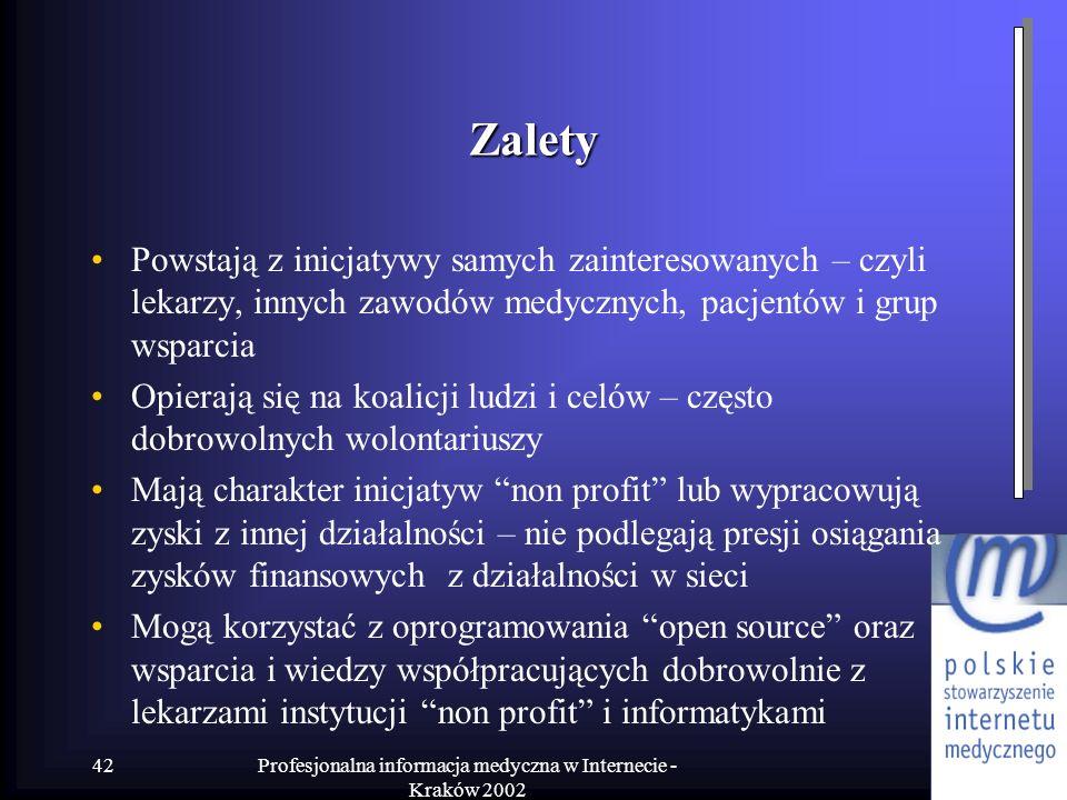 Profesjonalna informacja medyczna w Internecie - Kraków 2002