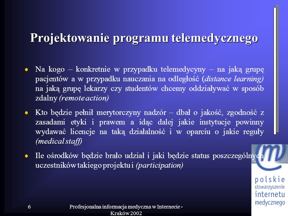Projektowanie programu telemedycznego