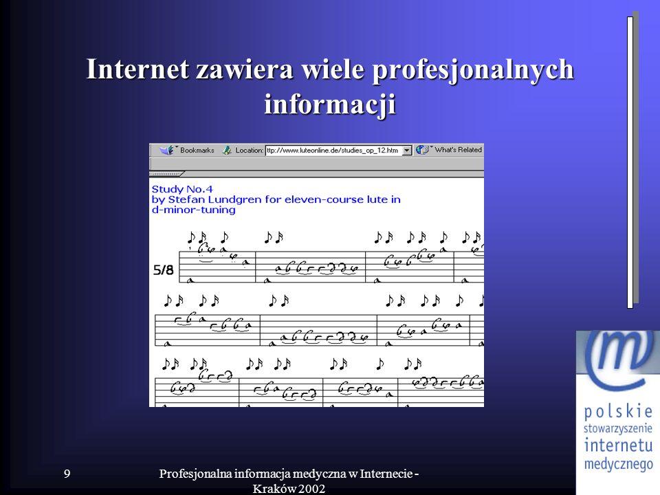 Internet zawiera wiele profesjonalnych informacji