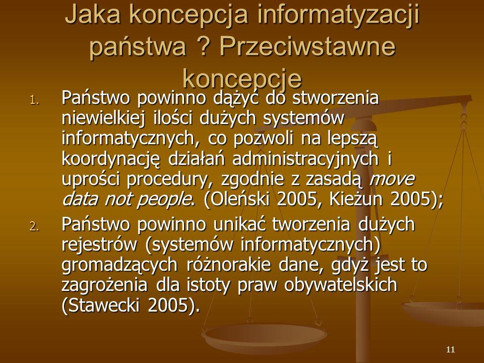 Jaka koncepcja informatyzacji państwa Przeciwstawne koncepcje