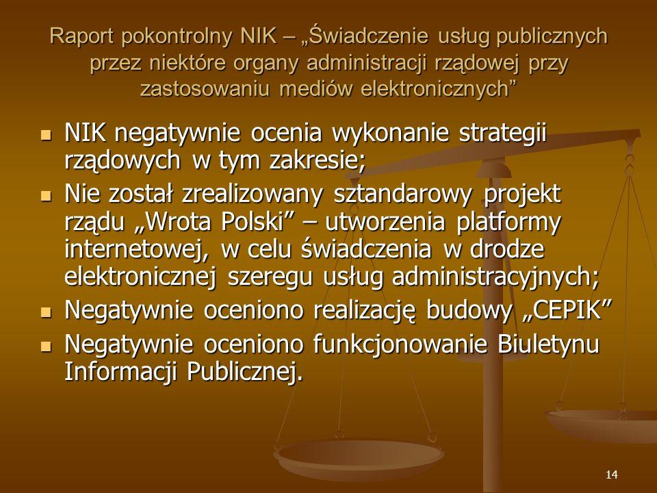 NIK negatywnie ocenia wykonanie strategii rządowych w tym zakresie;