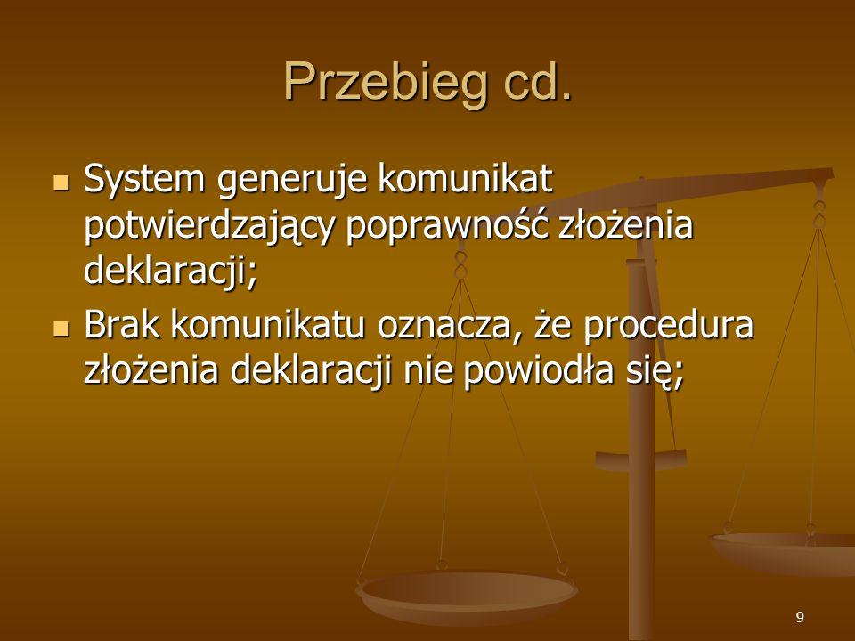 Przebieg cd. System generuje komunikat potwierdzający poprawność złożenia deklaracji;