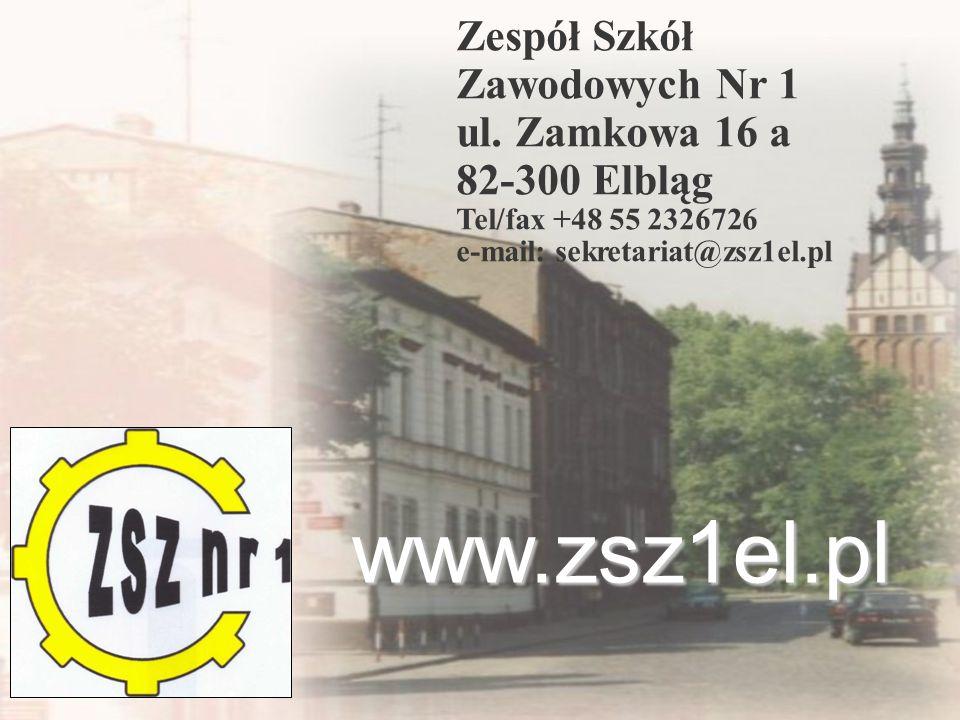 www.zsz1el.pl Zespół Szkół Zawodowych Nr 1 ul. Zamkowa 16 a