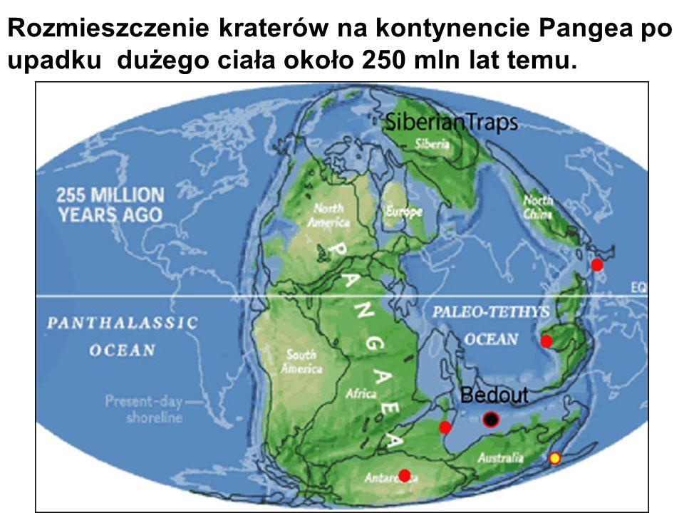 Rozmieszczenie kraterów na kontynencie Pangea po upadku dużego ciała około 250 mln lat temu.