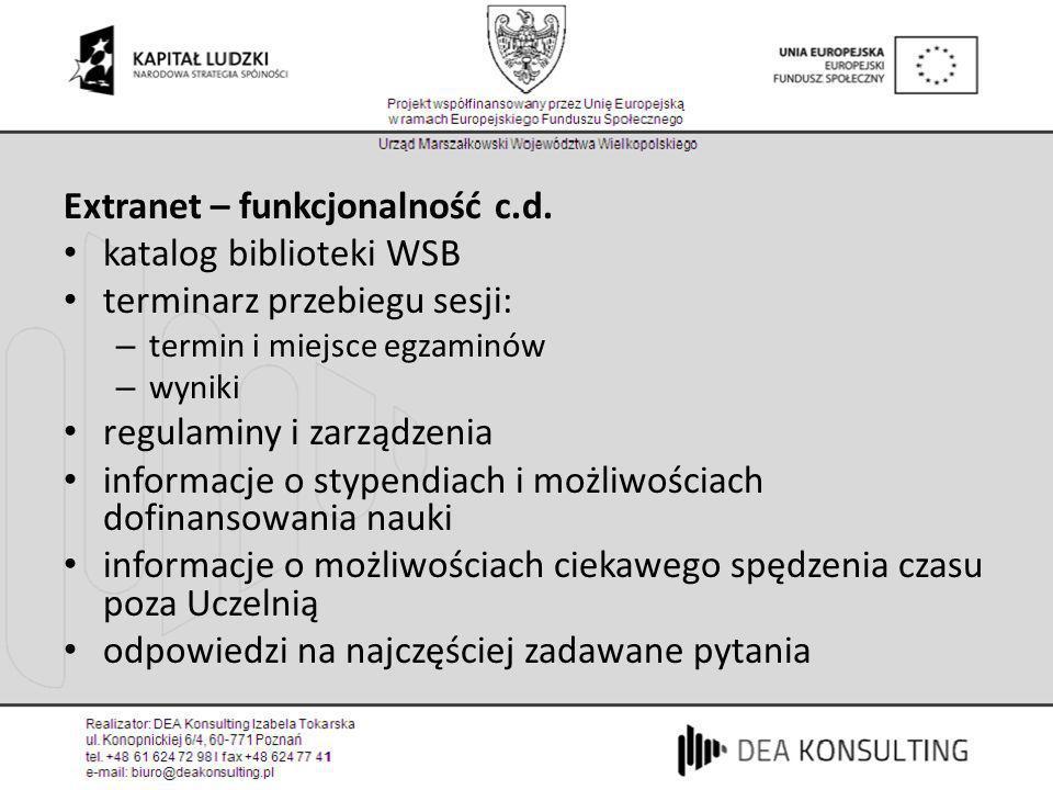 Extranet – funkcjonalność c.d. katalog biblioteki WSB