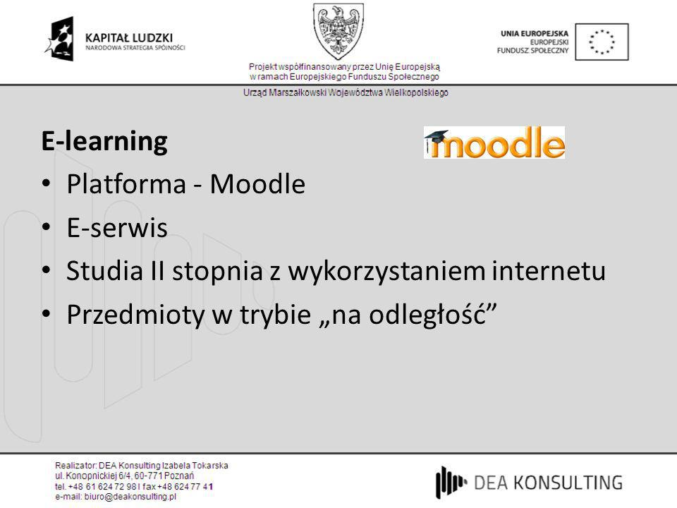 E-learning Platforma - Moodle. E-serwis. Studia II stopnia z wykorzystaniem internetu.