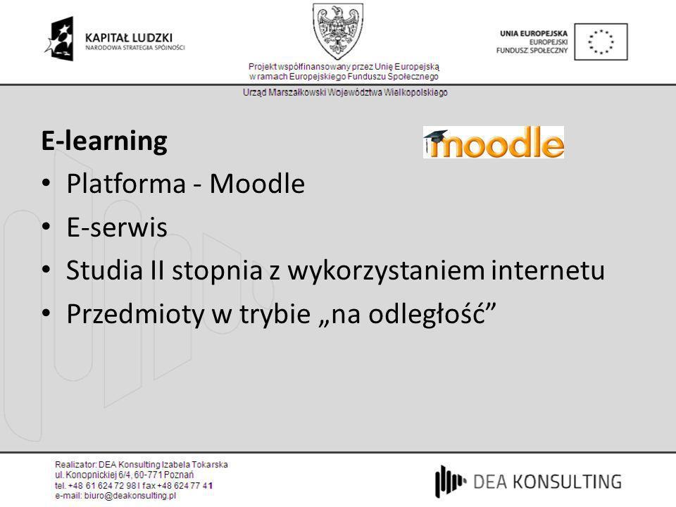 E-learningPlatforma - Moodle.E-serwis. Studia II stopnia z wykorzystaniem internetu.