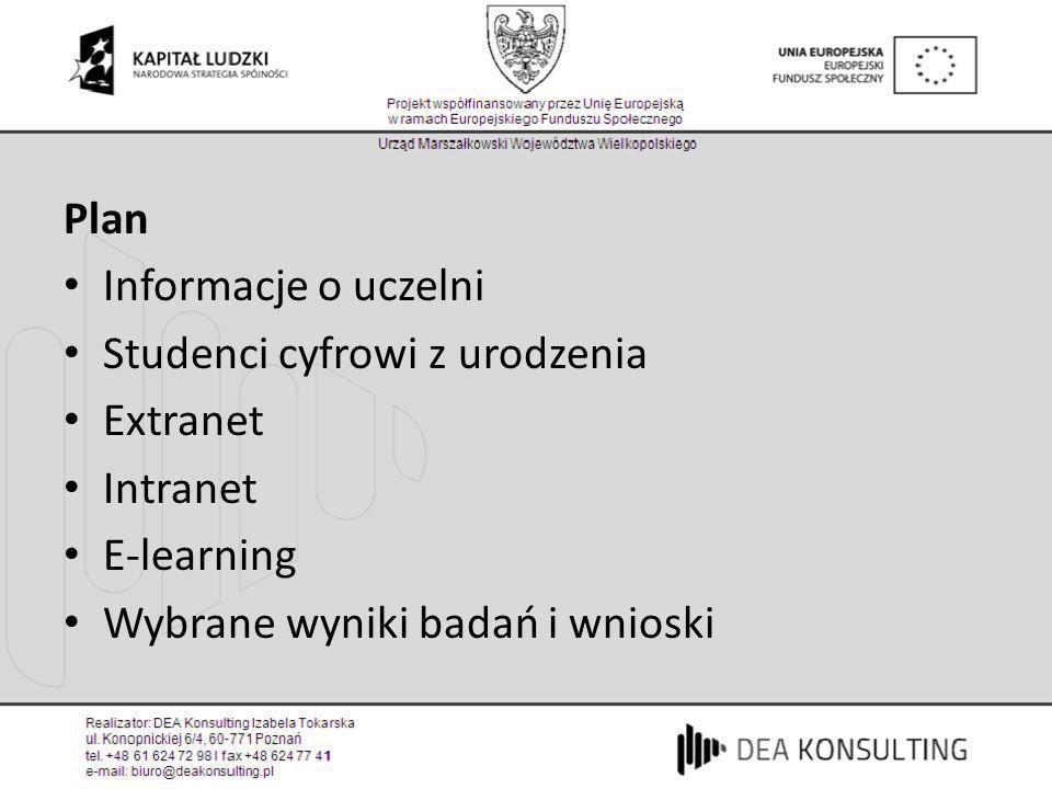 PlanInformacje o uczelni.Studenci cyfrowi z urodzenia.