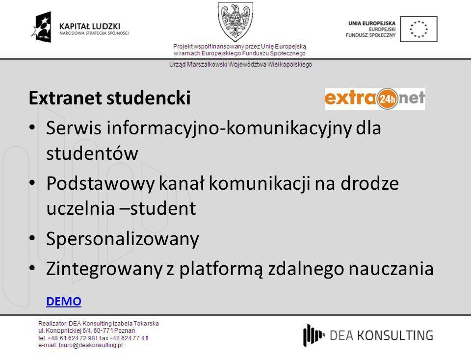 Extranet studenckiSerwis informacyjno-komunikacyjny dla studentów. Podstawowy kanał komunikacji na drodze uczelnia –student.
