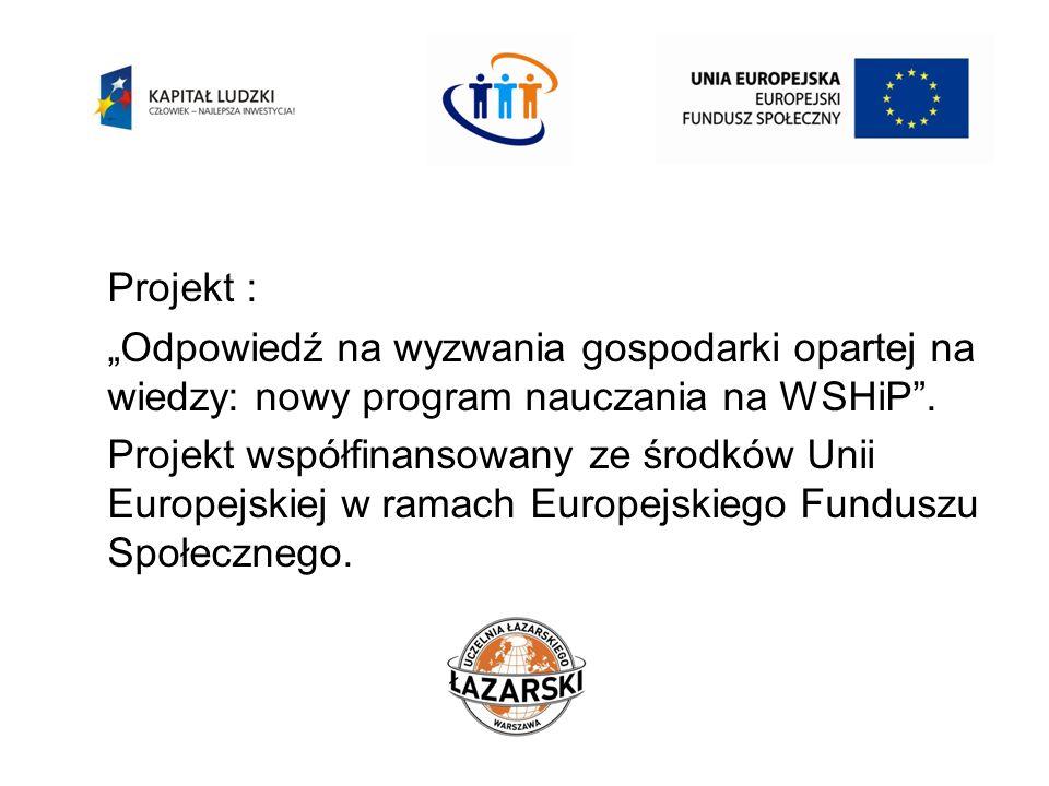 """Projekt :""""Odpowiedź na wyzwania gospodarki opartej na wiedzy: nowy program nauczania na WSHiP ."""