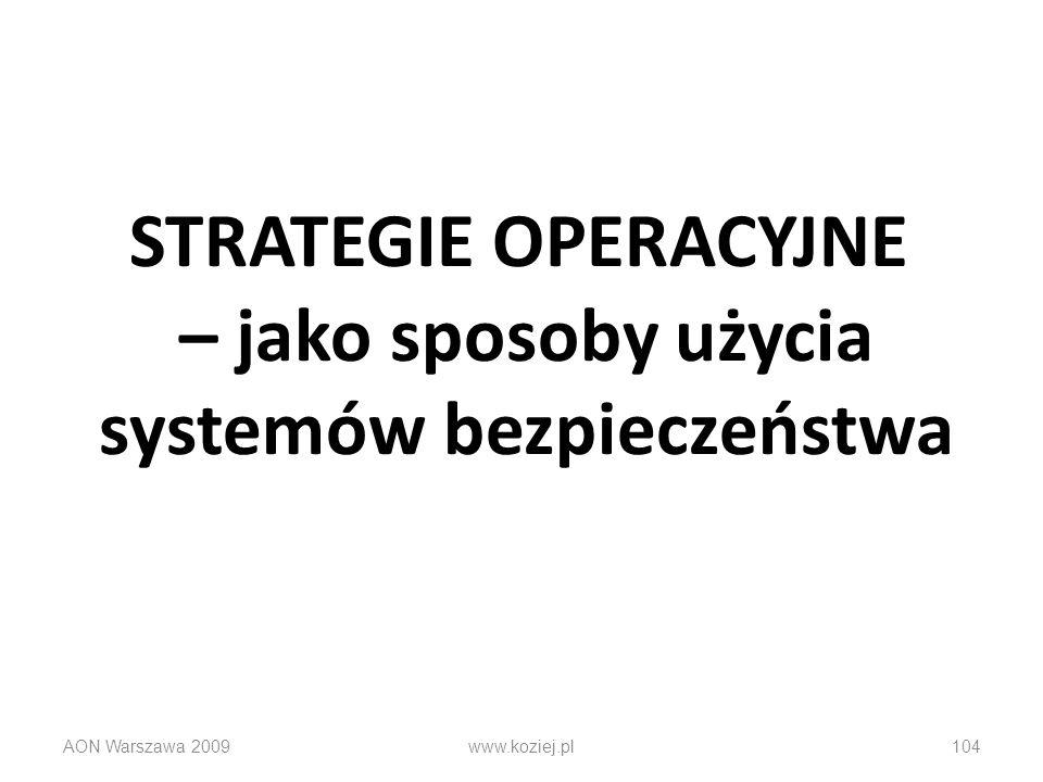 STRATEGIE OPERACYJNE – jako sposoby użycia systemów bezpieczeństwa