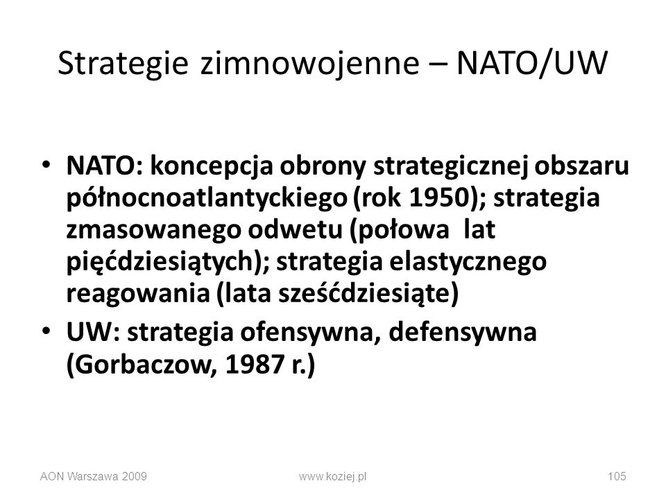 Strategie zimnowojenne – NATO/UW
