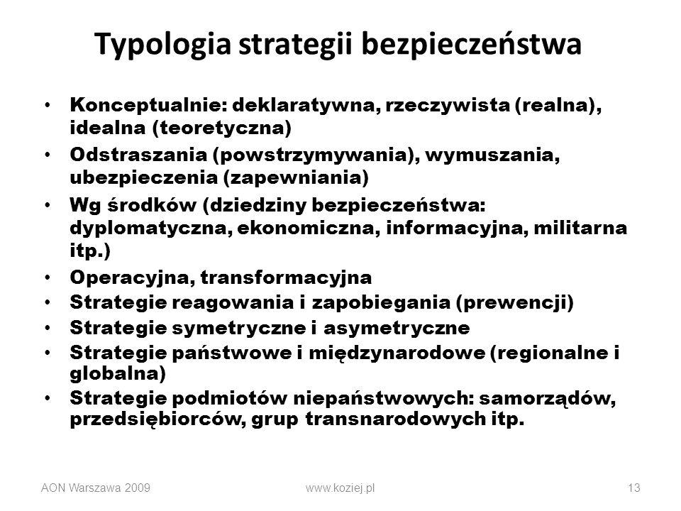 Typologia strategii bezpieczeństwa