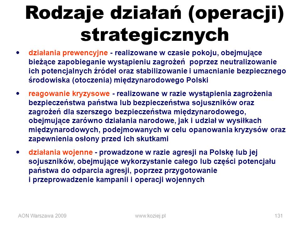 Rodzaje działań (operacji) strategicznych