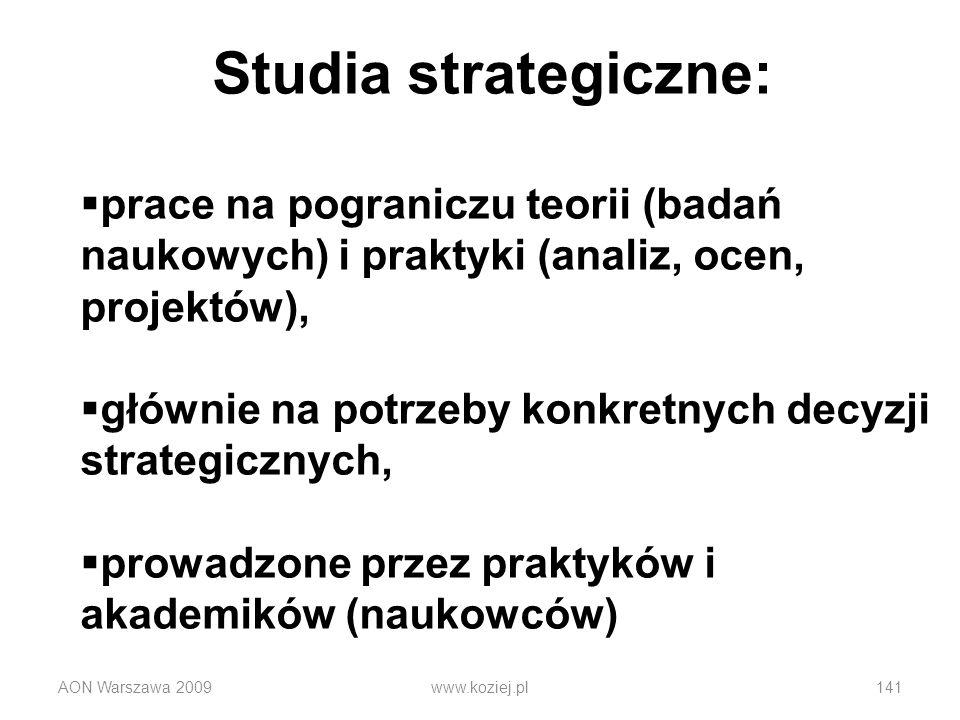 Studia strategiczne: prace na pograniczu teorii (badań naukowych) i praktyki (analiz, ocen, projektów),