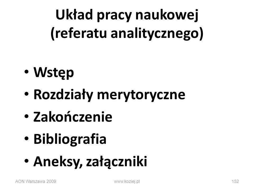 Układ pracy naukowej (referatu analitycznego)