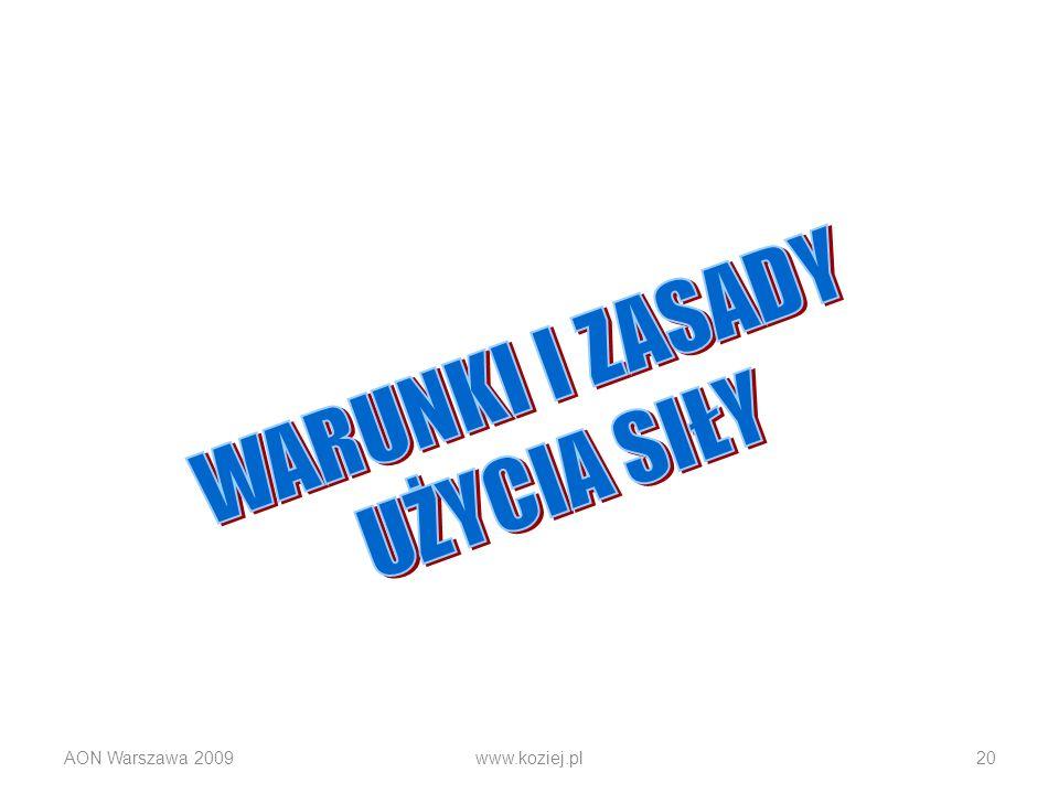 WARUNKI I ZASADY UŻYCIA SIŁY AON Warszawa 2009 www.koziej.pl