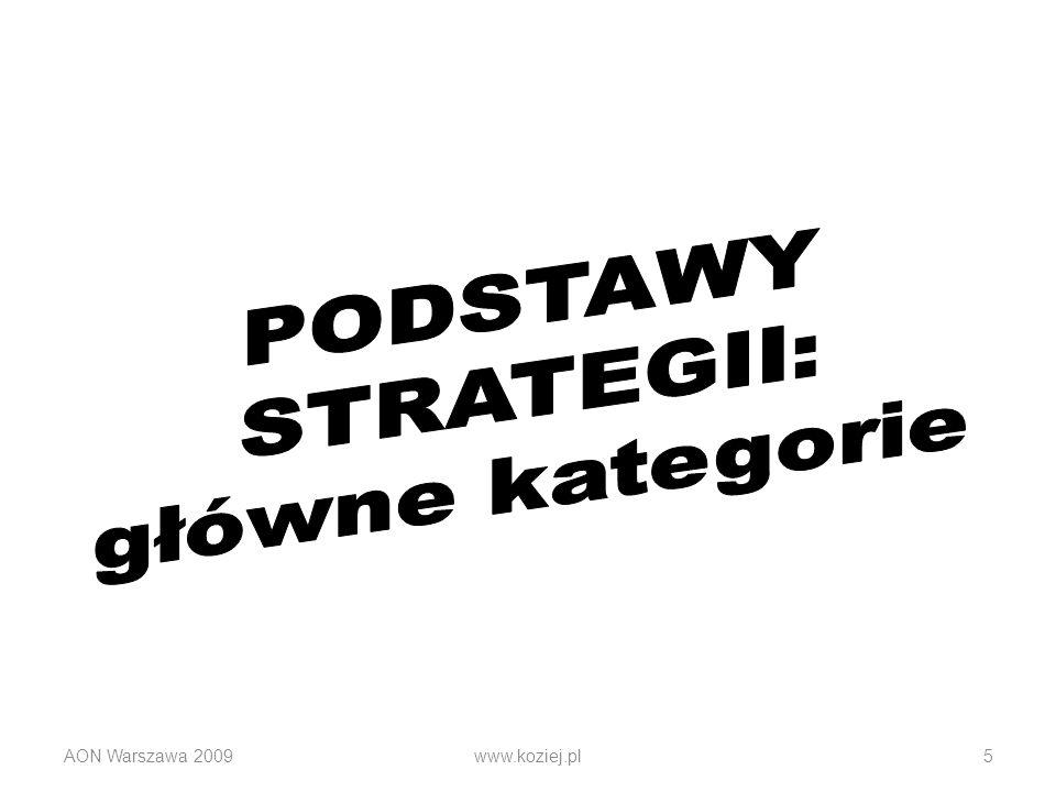 PODSTAWY STRATEGII: główne kategorie AON Warszawa 2009 www.koziej.pl