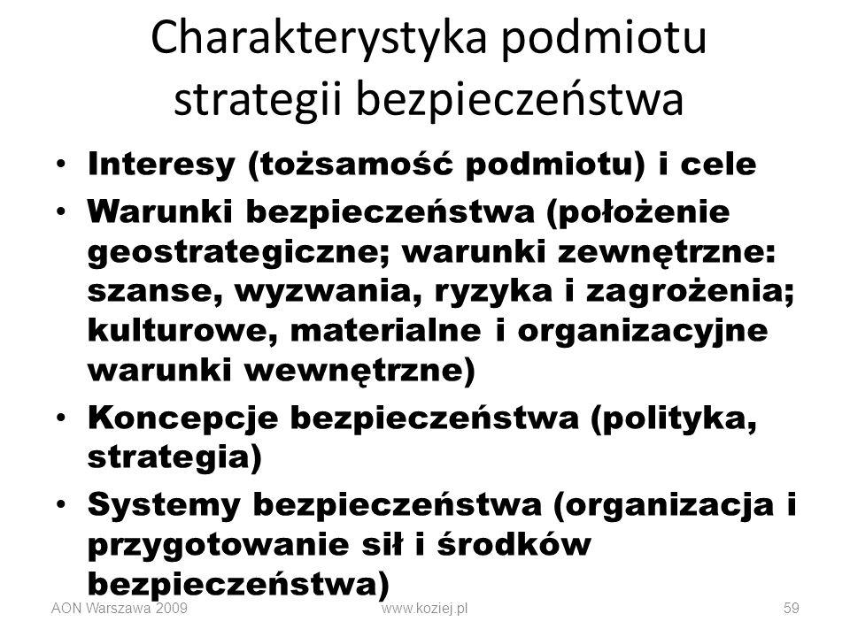 Charakterystyka podmiotu strategii bezpieczeństwa