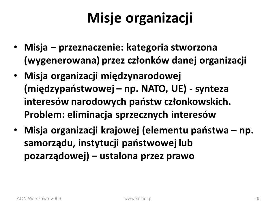 Misje organizacji Misja – przeznaczenie: kategoria stworzona (wygenerowana) przez członków danej organizacji.