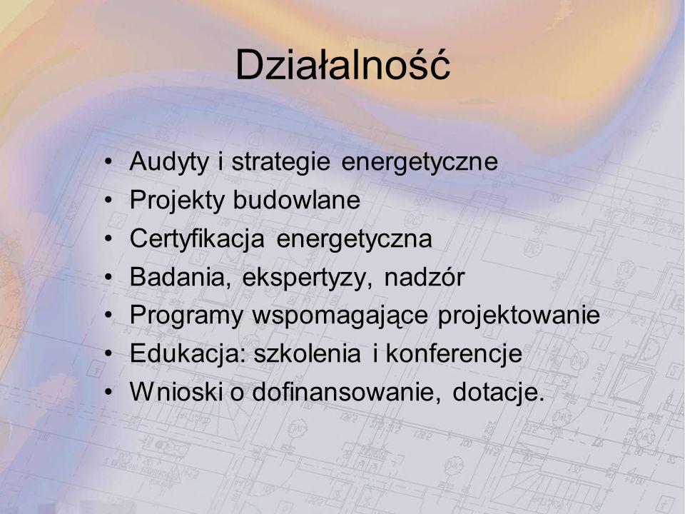 Działalność Audyty i strategie energetyczne Projekty budowlane