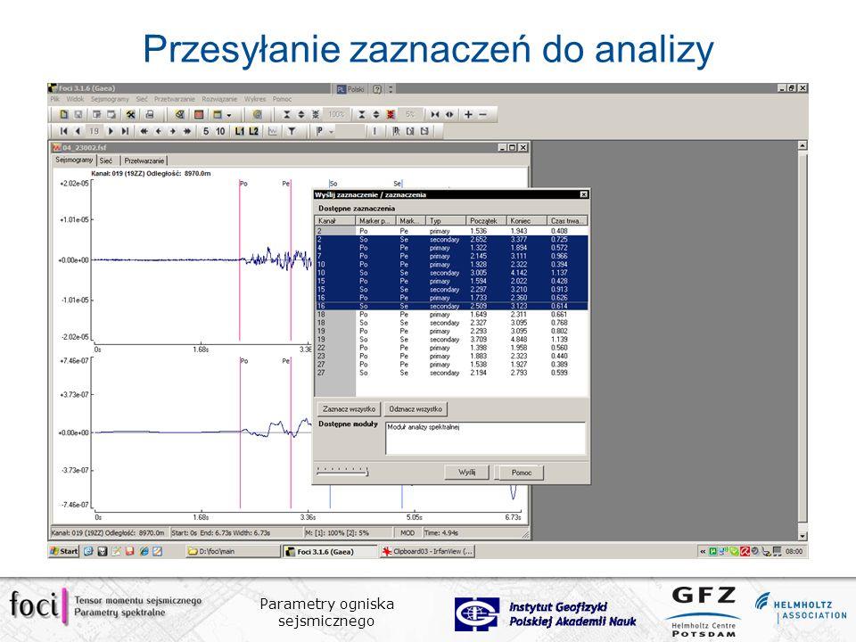 Przesyłanie zaznaczeń do analizy