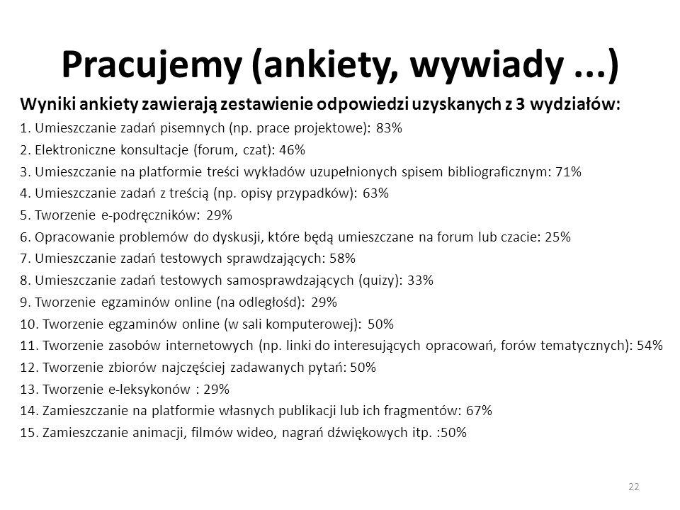 Pracujemy (ankiety, wywiady ...)