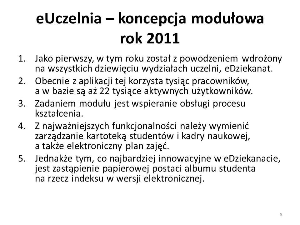 eUczelnia – koncepcja modułowa rok 2011