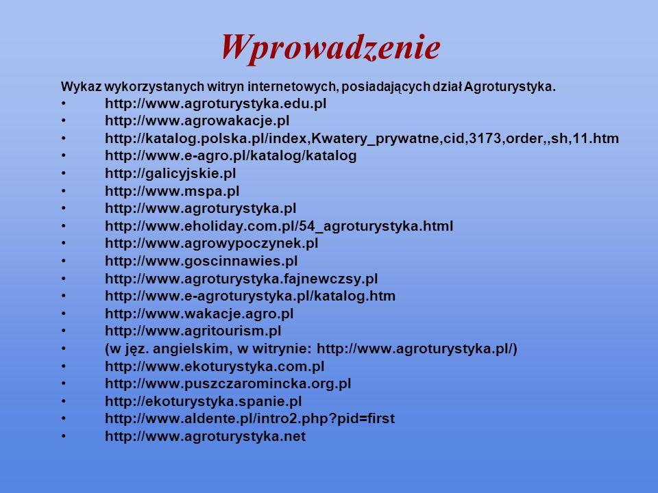 Wprowadzenie http://www.agroturystyka.edu.pl http://www.agrowakacje.pl