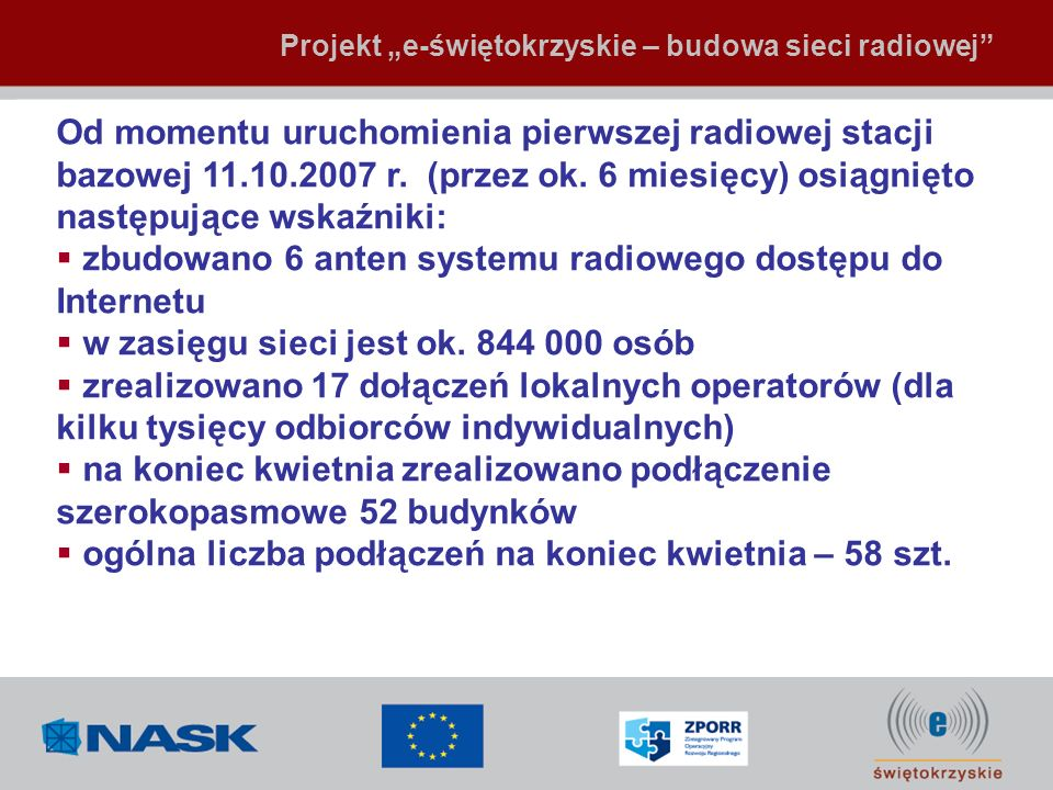 zbudowano 6 anten systemu radiowego dostępu do Internetu