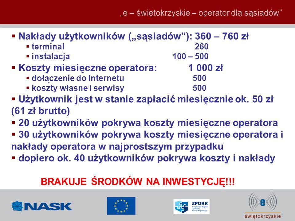 """Nakłady użytkowników (""""sąsiadów ): 360 – 760 zł"""