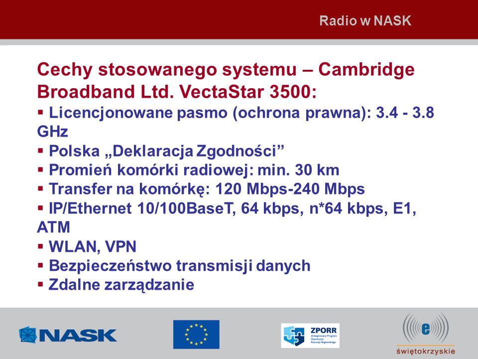 Cechy stosowanego systemu – Cambridge Broadband Ltd. VectaStar 3500: