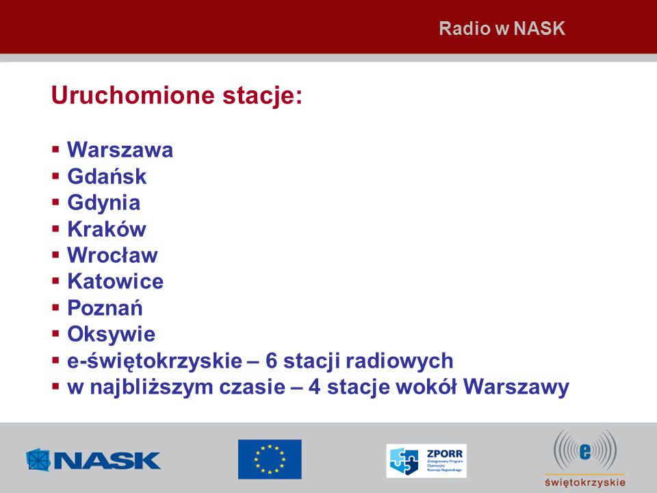 Uruchomione stacje: Warszawa Gdańsk Gdynia Kraków Wrocław Katowice