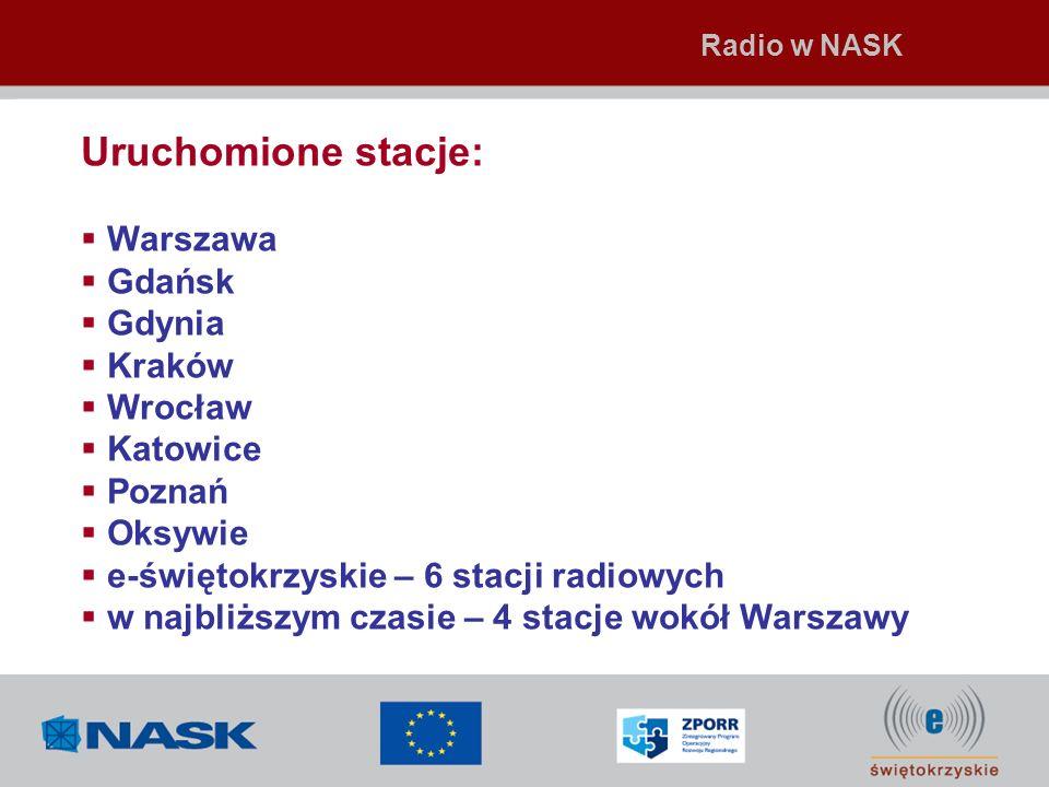 Uruchomione stacje: Warszawa Gdańsk Gdynia Kraków Wrocław Katowice