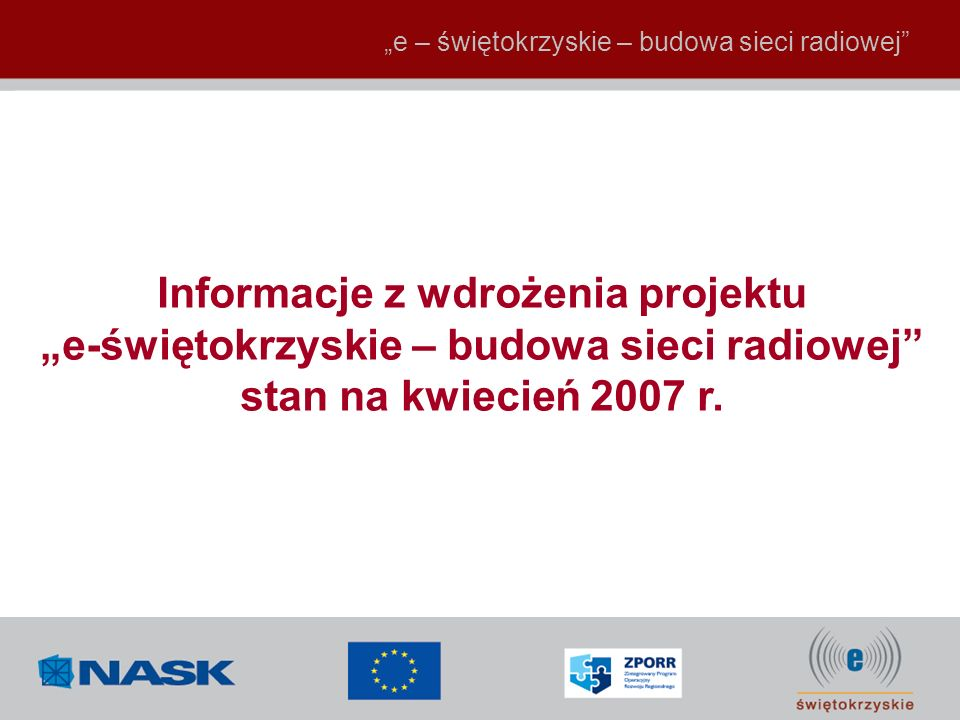Informacje z wdrożenia projektu