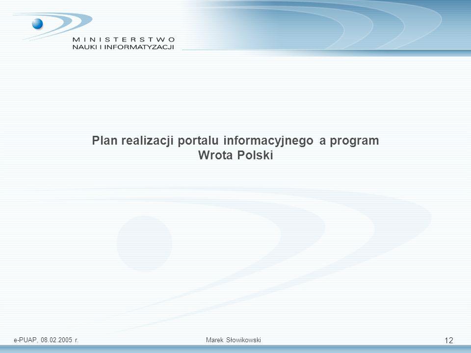 Plan realizacji portalu informacyjnego a program Wrota Polski