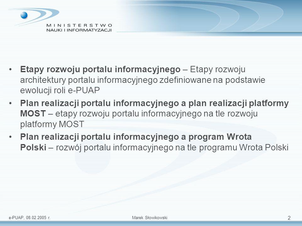 Etapy rozwoju portalu informacyjnego – Etapy rozwoju architektury portalu informacyjnego zdefiniowane na podstawie ewolucji roli e-PUAP