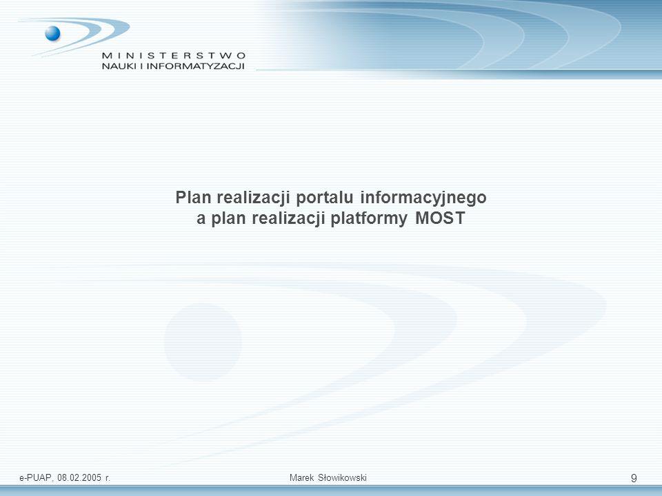 Plan realizacji portalu informacyjnego a plan realizacji platformy MOST