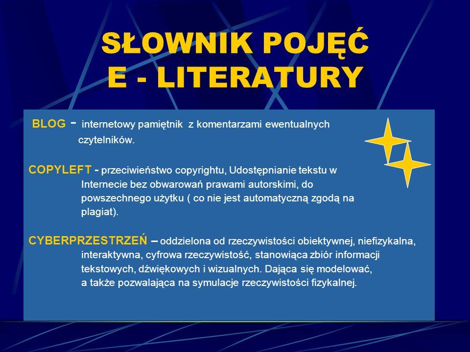 SŁOWNIK POJĘĆ E - LITERATURY