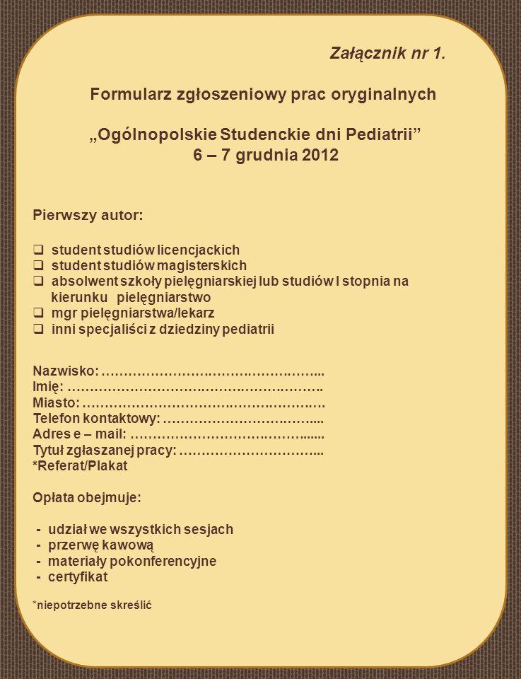 Formularz zgłoszeniowy prac oryginalnych