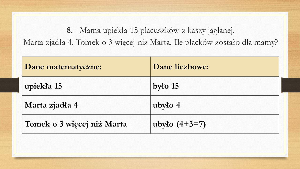 8. Mama upiekła 15 placuszków z kaszy jaglanej