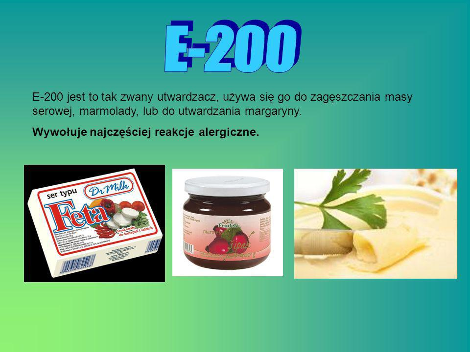 E - 2 0 0E-200 jest to tak zwany utwardzacz, używa się go do zagęszczania masy serowej, marmolady, lub do utwardzania margaryny.