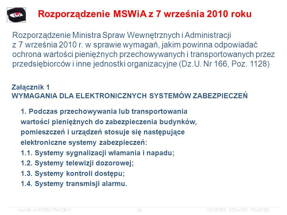 Rozporządzenie MSWiA z 7 września 2010 roku