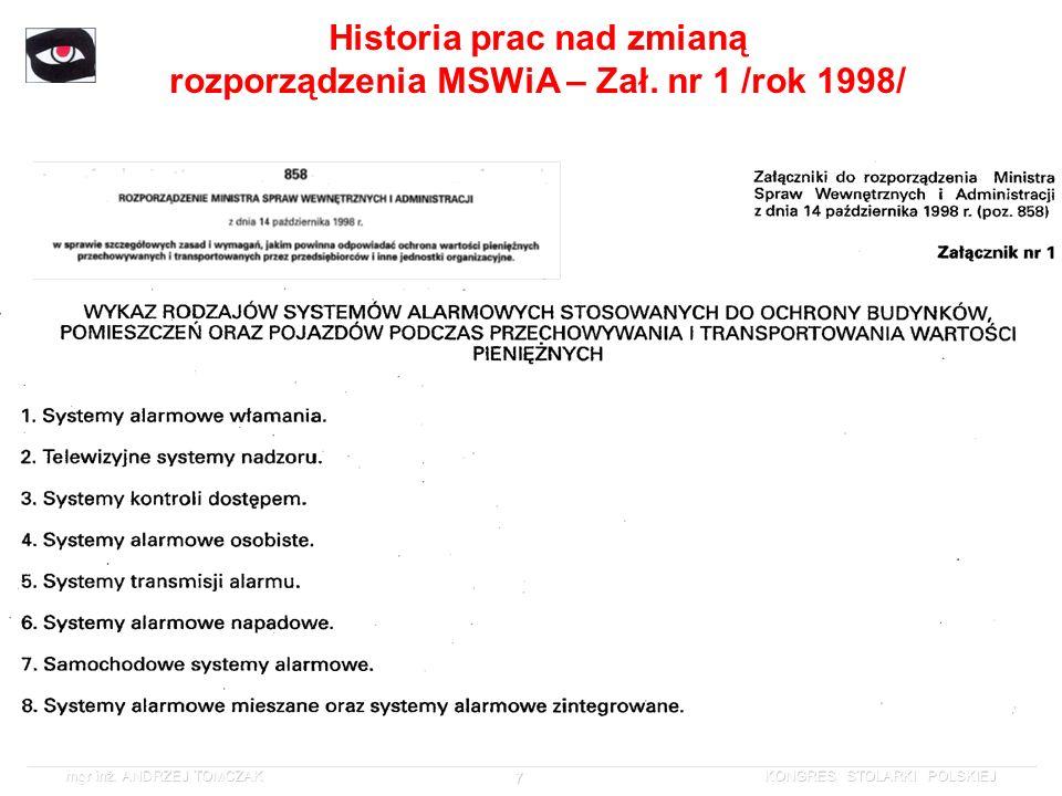 Historia prac nad zmianą rozporządzenia MSWiA – Zał. nr 1 /rok 1998/