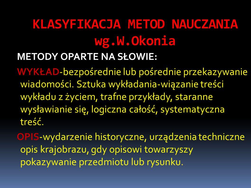 KLASYFIKACJA METOD NAUCZANIA wg.W.Okonia