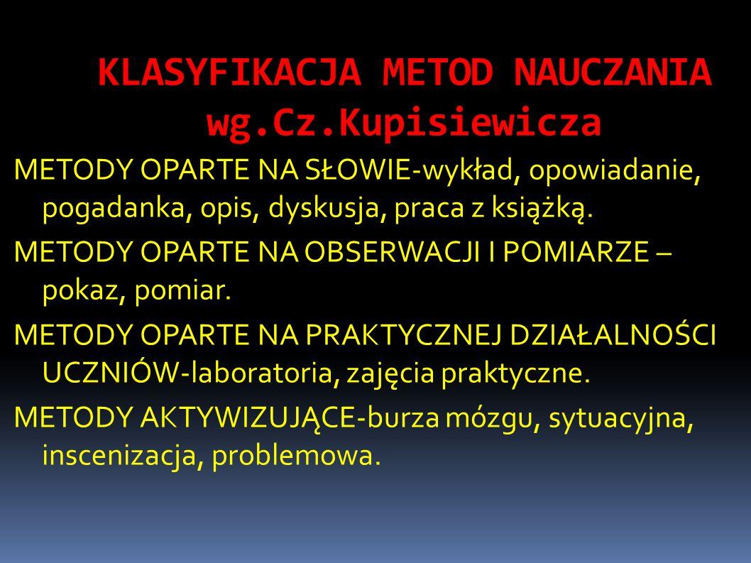KLASYFIKACJA METOD NAUCZANIA wg.Cz.Kupisiewicza