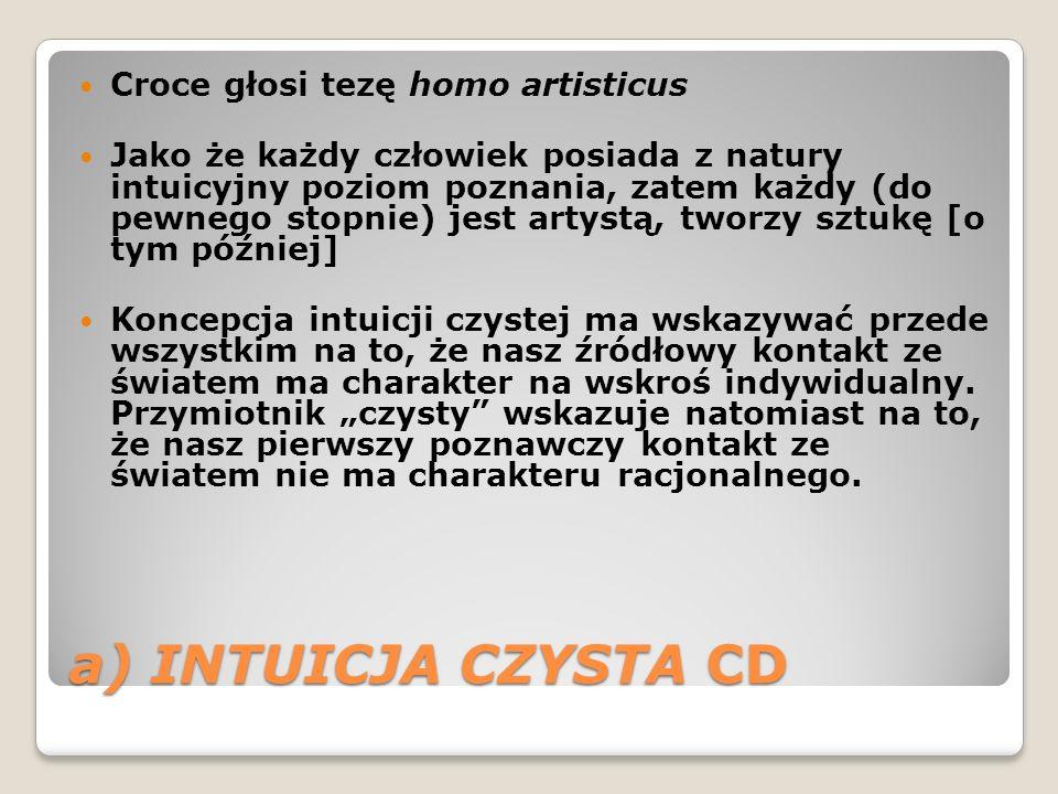 a) INTUICJA CZYSTA CD Croce głosi tezę homo artisticus