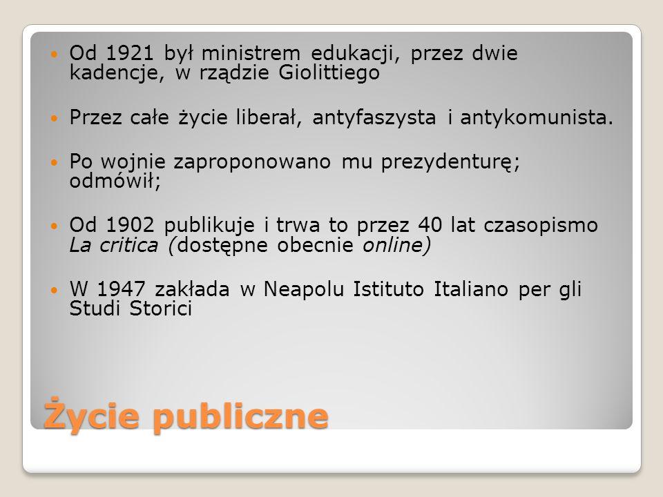 Od 1921 był ministrem edukacji, przez dwie kadencje, w rządzie Giolittiego