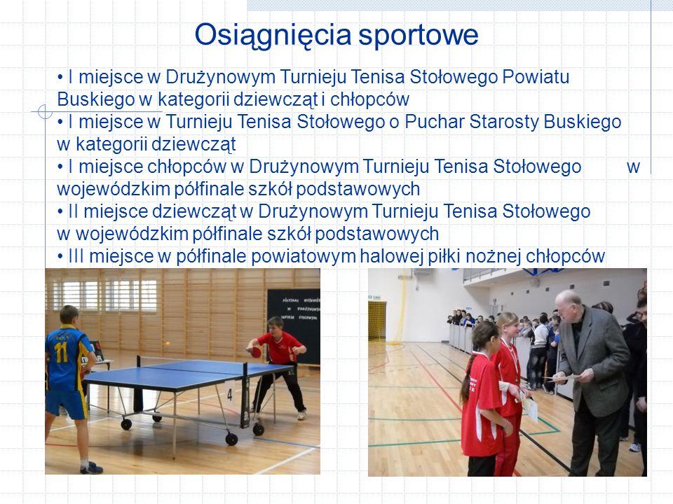 Osiągnięcia sportowe I miejsce w Drużynowym Turnieju Tenisa Stołowego Powiatu Buskiego w kategorii dziewcząt i chłopców.
