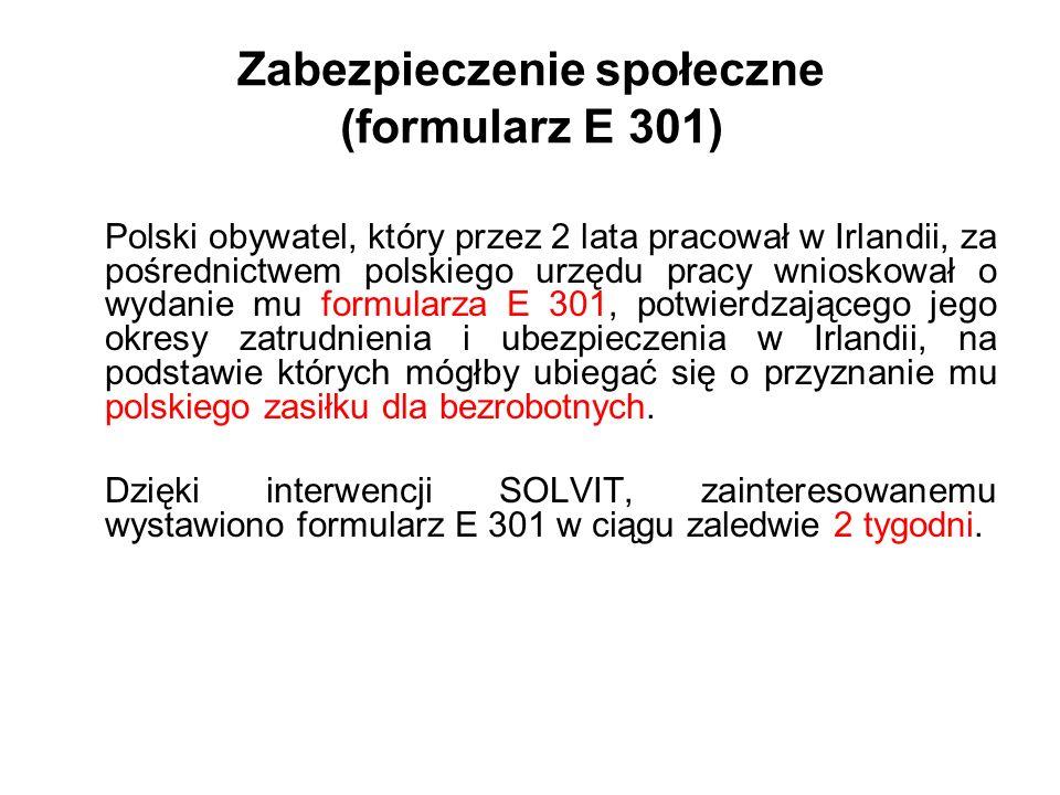 Zabezpieczenie społeczne (formularz E 301)